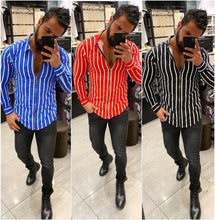 Load image into Gallery viewer, Men's 3D Long Sleeve Classic Slim Striped Shirt