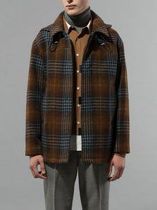Vintage?Plaid A Lapel Men Coat