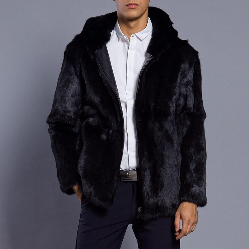 Faux Fur Zipper Autumn And Winter Mens Jacket