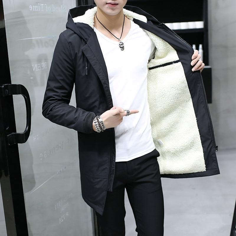 Winter Jacket Men Warm Slim Long Coat