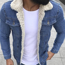 Load image into Gallery viewer, Fashion Fleece Turndown Collar Denim Jacket