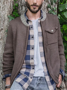 Men's Solid Color Zip Knit Jacket