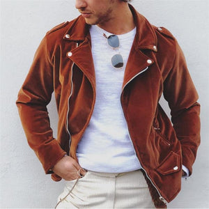 Men's fashion casual solid color zipper jacket