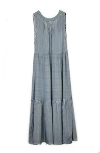 Blue Striped Summer Dress - Tie-Neck Summer Dresses Online