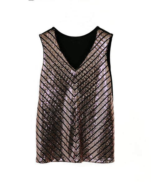 Gold Sequin Sleeveless Top for Sale - Moon Evening Shirt