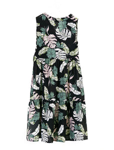 European Style Summer Dresses - Tropical Floral on Black