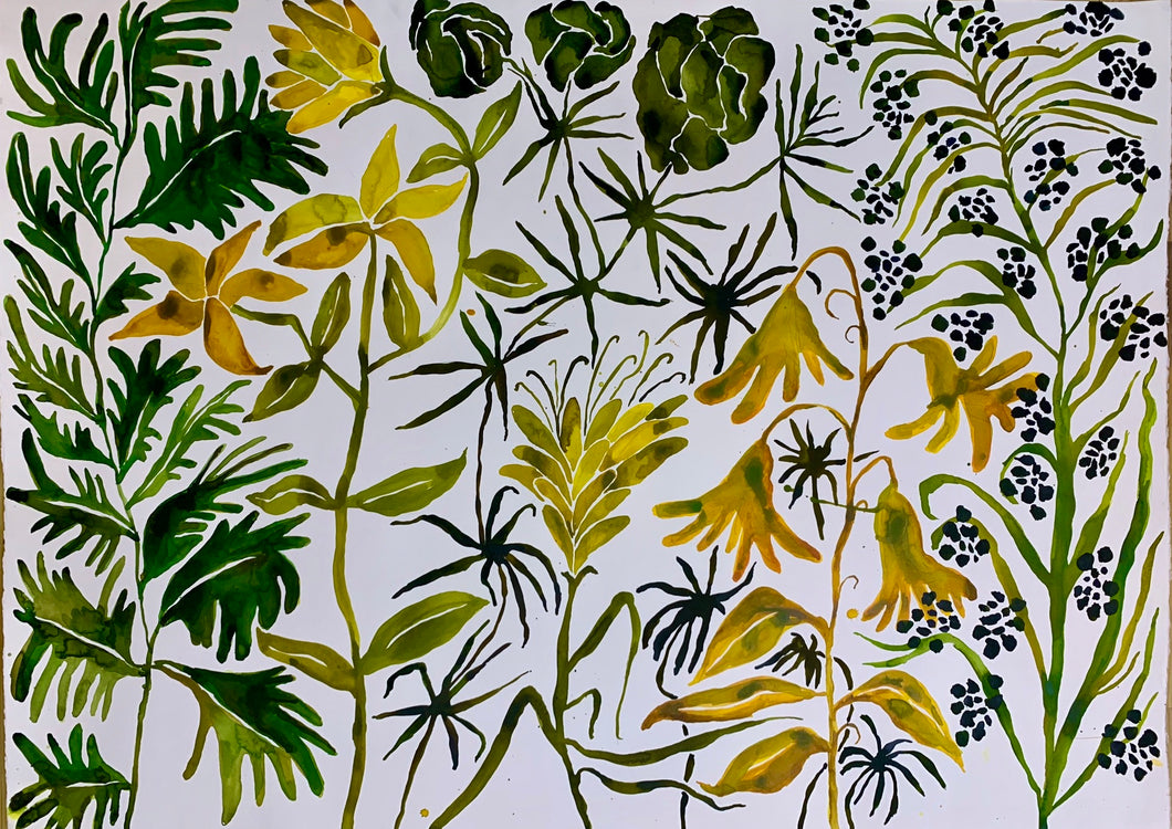 Green Leaf Deep Forest Dot 40x55