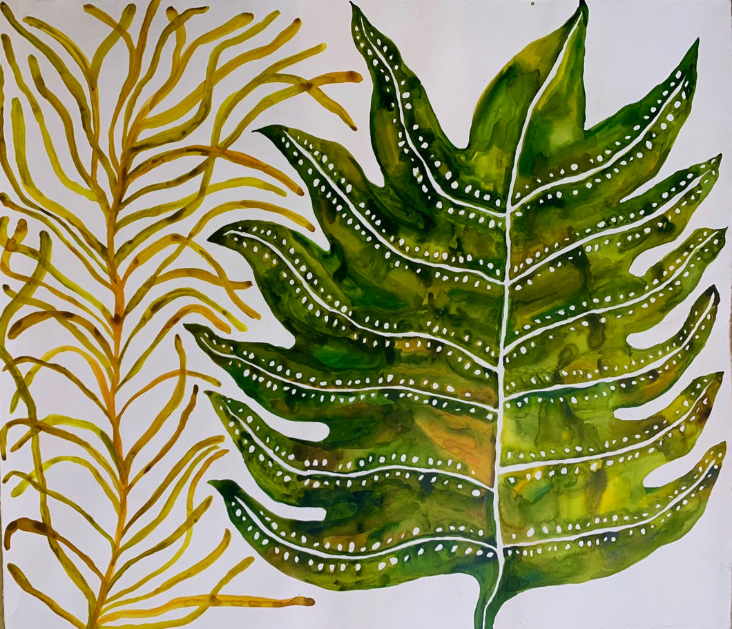 Yellow Squiggle Green Leaf 48x55