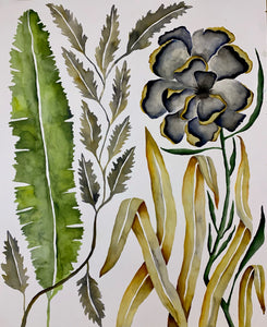 Banana Leaf Grey Floral 24x30