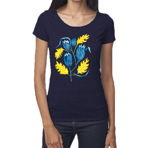 Autumn Bluebell Femme Scoop Neck Tee