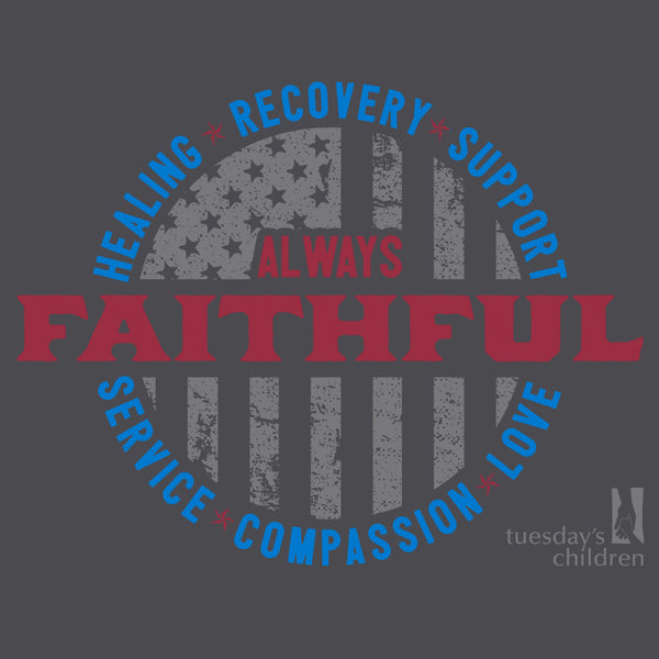 "Preview of front imprint showing ""Always Faithful"" design in red with muted grey flag and Tuesday's Children logo and circle of light blue text."