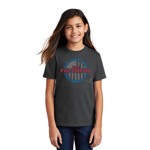 Front view of Always Faithful t-shirt showing full front chest imprint with Always Faithful text and flag motif.