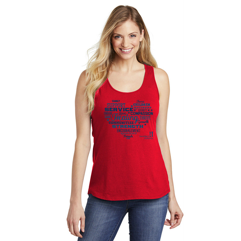 Front view of tank showing navy and blue typographic heart imprint with Tuesday's Children logo.