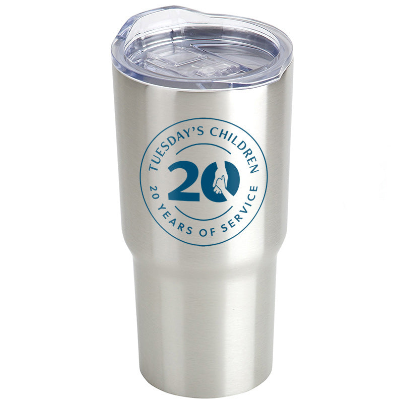 Stainless steel travel tumbler with clear plastic lid and blue Tuesday's Children 20th Anniversary logo imprint.