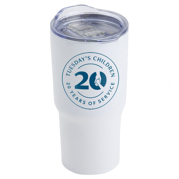 White stainless steel travel tumbler with clear plastic lid and blue Tuesday's Children 20th Anniversary logo imprint.
