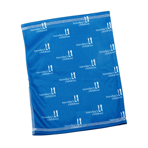 Neck gaiter in Tuesday's Children's distinctive blue with step and repeat Tuesday's Children logo design.
