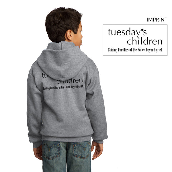 Back view of Tuesday's Children logo hoodie in Athletic Heather showing full back logotype and motto imprint in black.