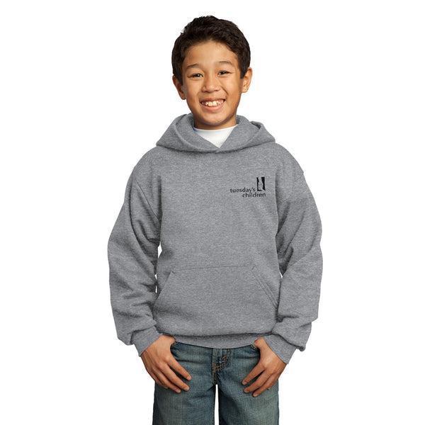 Front view of Athletic Heather Tuesday's Children logo hoodie showing left chest imprint of Tuesday's Children logo in black.