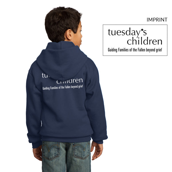 Back view of Tuesday's Children logo hoodie in Navy showing full back logotype and motto imprint in white.