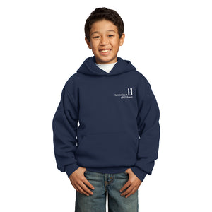 Front view of Navy Tuesday's Children logo hoodie showing left chest imprint of Tuesday's Children logo in white.
