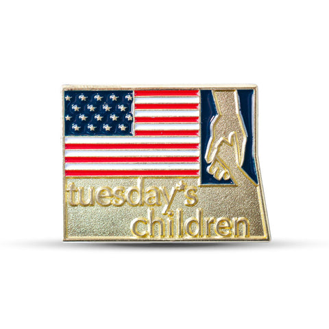 Close-up view of Tuesday's Children Military Logo pin with American flag and Tuesday's Children logo in goldtone and red, white, and blue enamel.