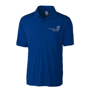 Men's polo in rich blue showing left chest embroidered Tuesday's Children logo in white thread.