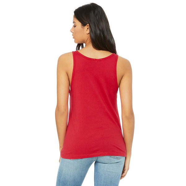 Back view of red tank top showing low scoop back.