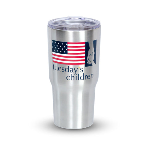 Preview image of stainless steel Tuesday's Children Military Logo tumbler showing imprint. Imprint is on both front and back of tumbler.