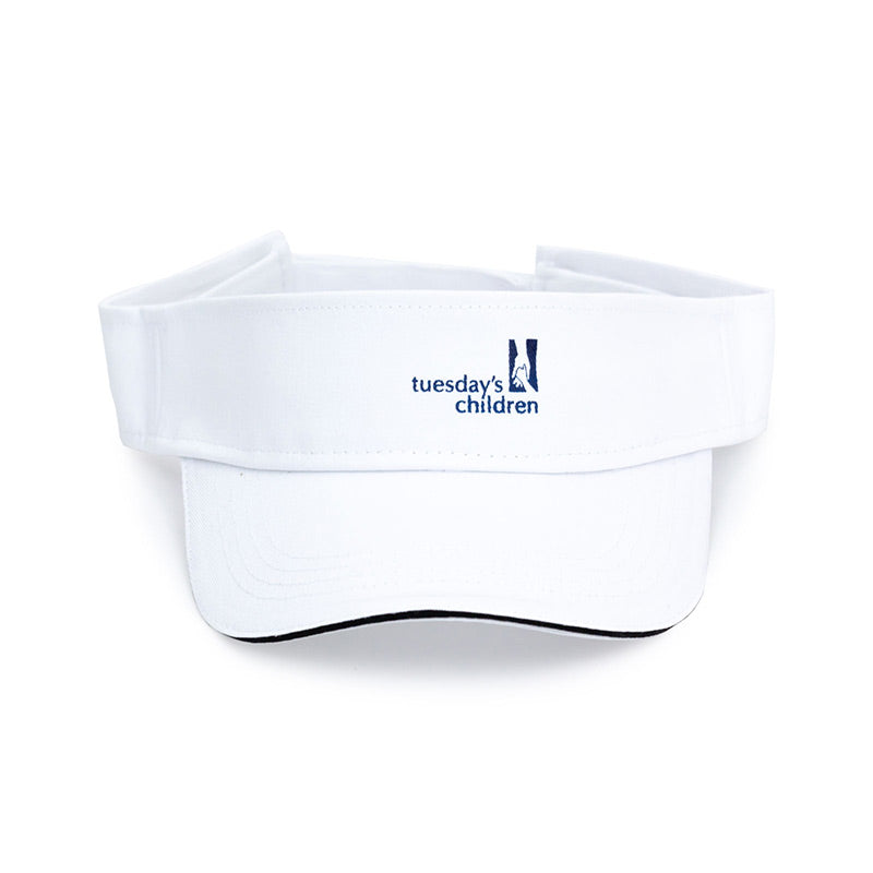 White visor with front center imprint of Tuesday's Children logo and rear adjustable hook and loop closure.