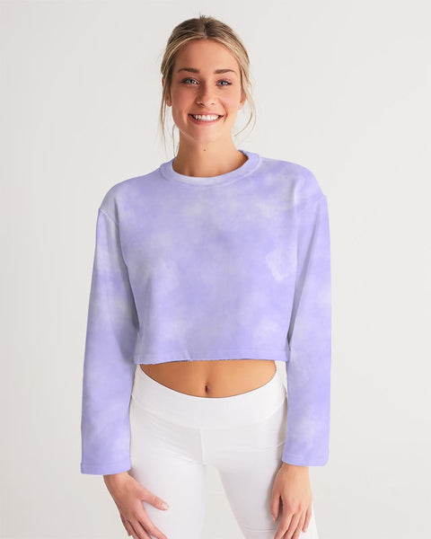 Clouds Pastel Purple Women's Cropped Sweatshirt