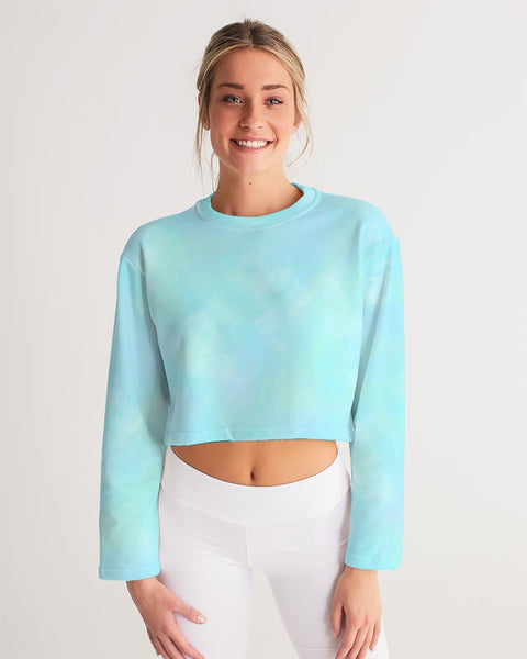 Clouds Pastel Blue Women's Cropped Sweatshirt