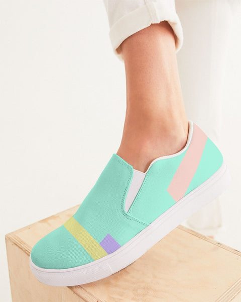 Abstract Pastel Teal Women's Slip-On Canvas Shoe
