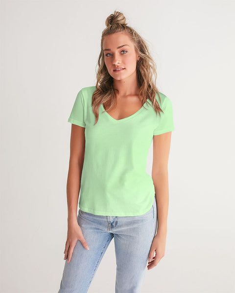 Solid Pastel Green Women's V-Neck Tee