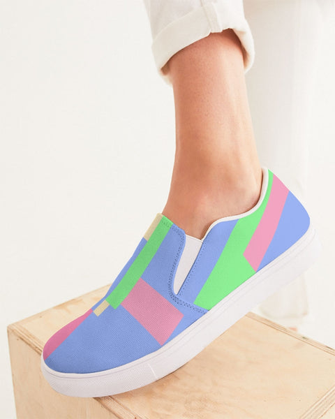 Abstract Pastel Blue Women's Slip-On Canvas Shoe
