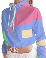 Abstract Pastel Blue Women's Cropped Windbreaker