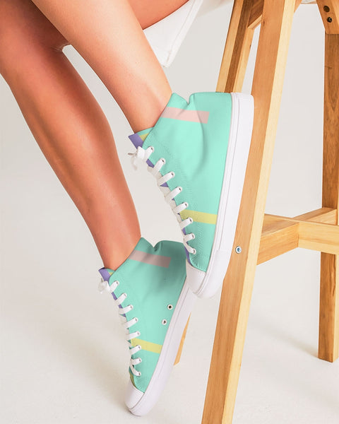 Abstract Pastel Teal Women's Hightop Canvas Shoe