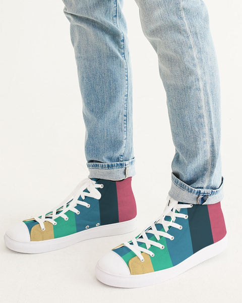 Striped Vintage Dawn Men's Hightop Canvas Shoe