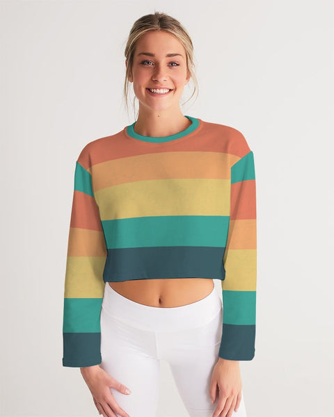 Vintage Sundown Stripe Women's Cropped Sweatshirt