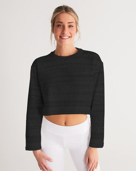 Black Specked Women's Cropped Sweatshirt