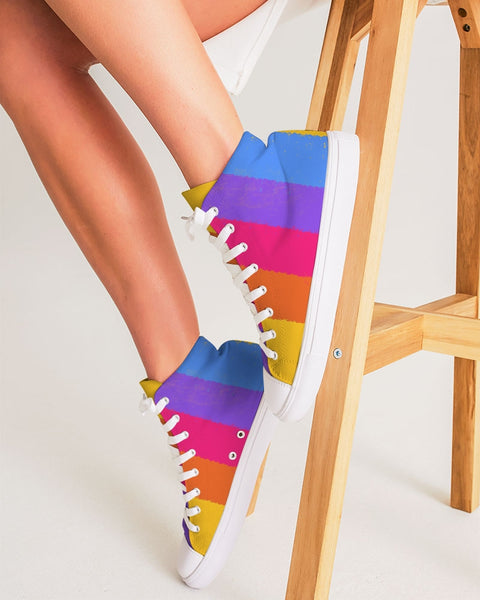 Neon 80s Stripe Women's Hightop Canvas Shoe