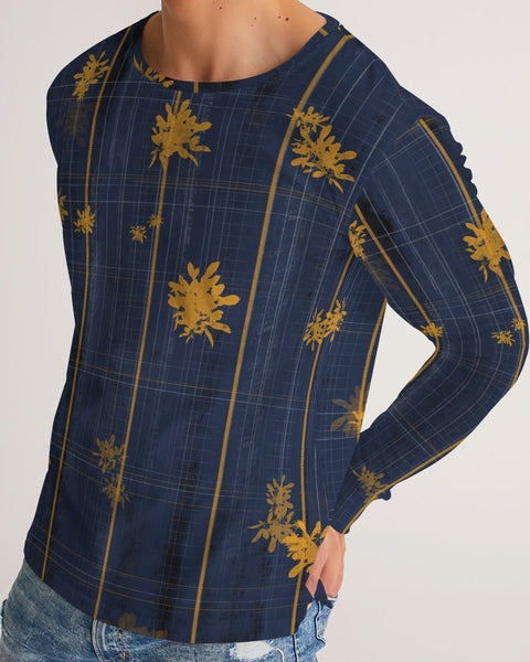 Yellow Plaid Floral Men's Long Sleeve Tee