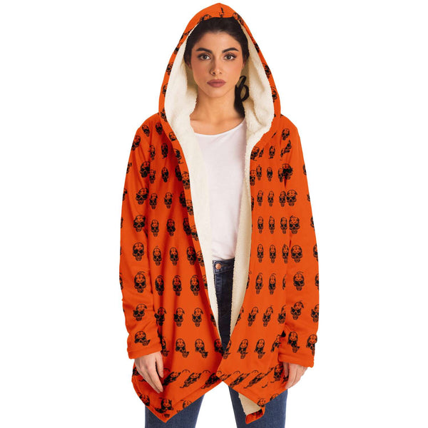 HALLOWEEN Orange Skull Pattern Cloak Hoodie