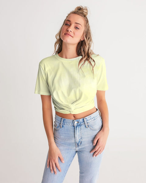 Clouds Pastel Yellow Women's Twist-Front Cropped Tee