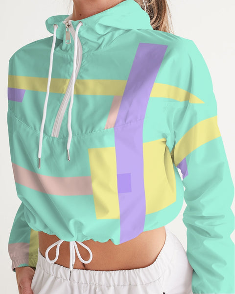 Abstract Pastel Teal Women's Cropped Windbreaker