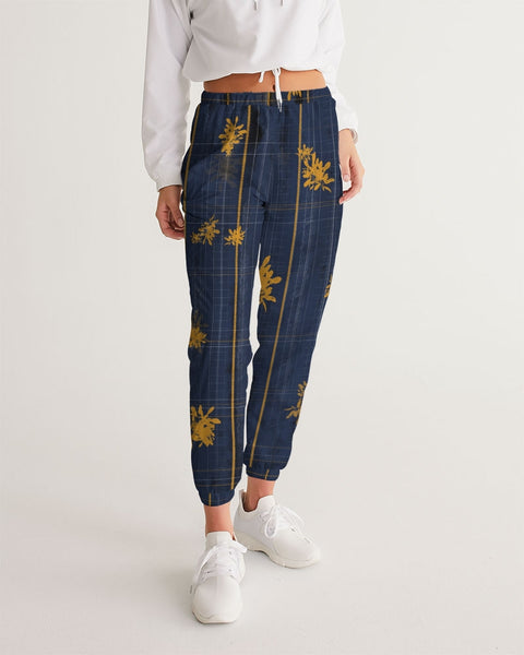 Yellow Plaid Floral Women's Track Pants
