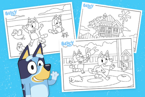 Bluey colouring pages