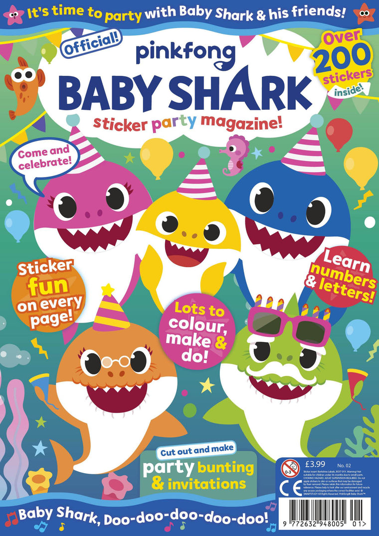NEW - Baby Shark Sticker Party Magazine - Issue 2 Magazine IMC New Stock