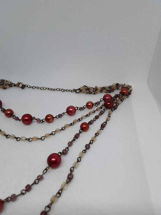 Brasstone red beaded necklace and earring set