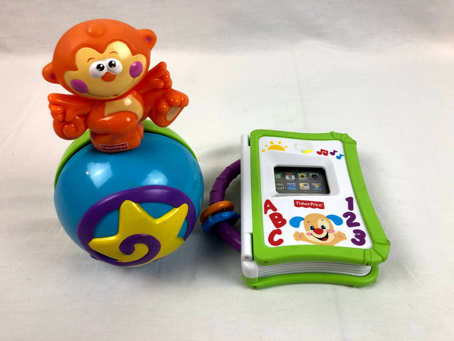 2 Piece Fisher Price Storybook Reader and Fisher Price Crawl Along Musical Ball Toy Bundle