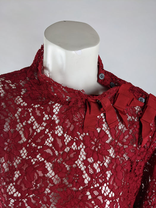 J. Crew Women's Red Lace Blouse Size 12